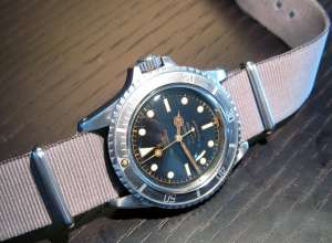 TUDOR Reference 7928 Submariner. Squarecrown. Notice the MK I gilt dial. Gilt track + gilt writing on the dial. Photo by PhilippS. Very rare.