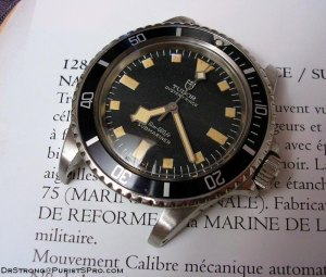 "TUDOR Reference 7016. 1974 issued ""Snowflake"" - Black dial. Marine Nationale. Photo by DrStrong. With permission linked to this site."