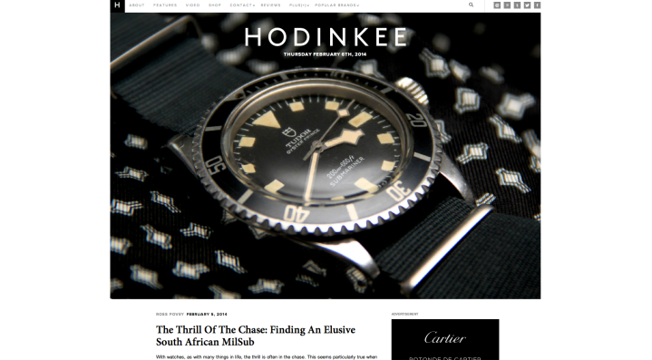 Hodinkee Home Screen Shot
